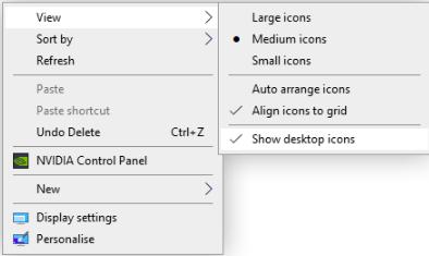 turn on desktop icon visbility