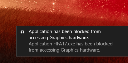 Applications has been blocked from accessing graphics hardware
