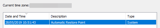 Automatic restore point