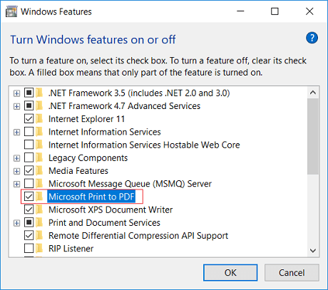 how to enable and disable microsoft print