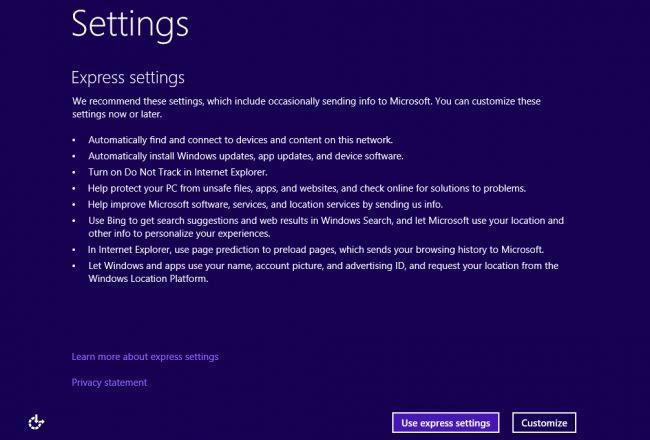 Choose, use express settings when installing windows