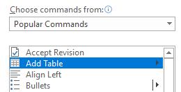 Commands tool bar