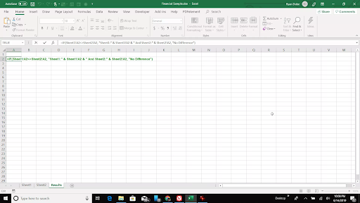 Compare two excel sheets