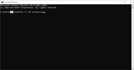 restart cortana using command prompt