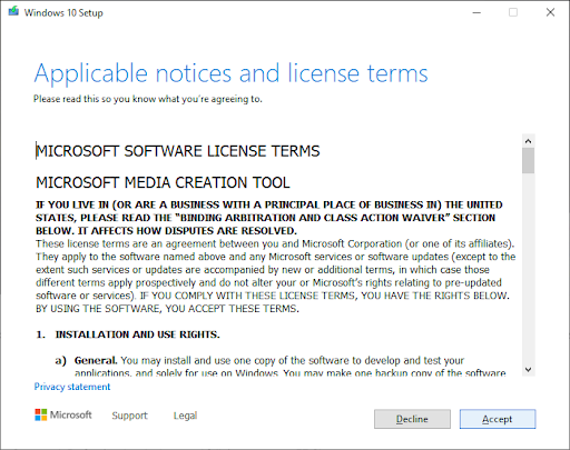Microsoft applicable notices and license terms
