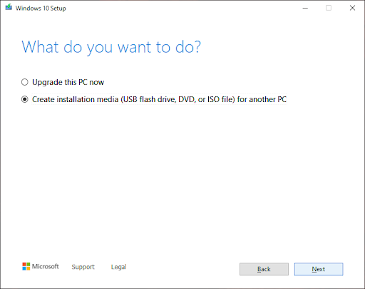 Creating installation media for another PC