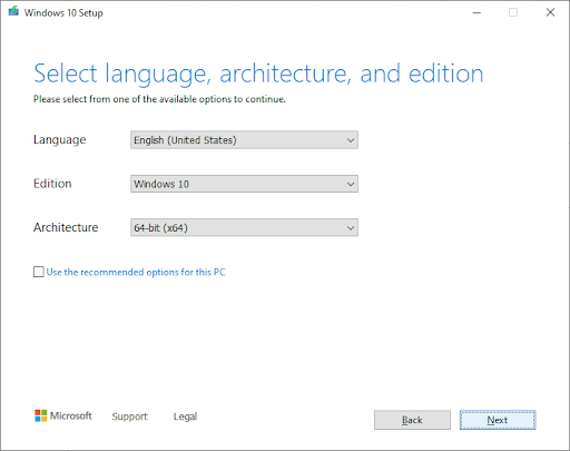 Select language, architecture, and edition