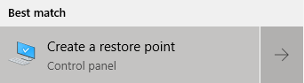 Creating a restore point on windows