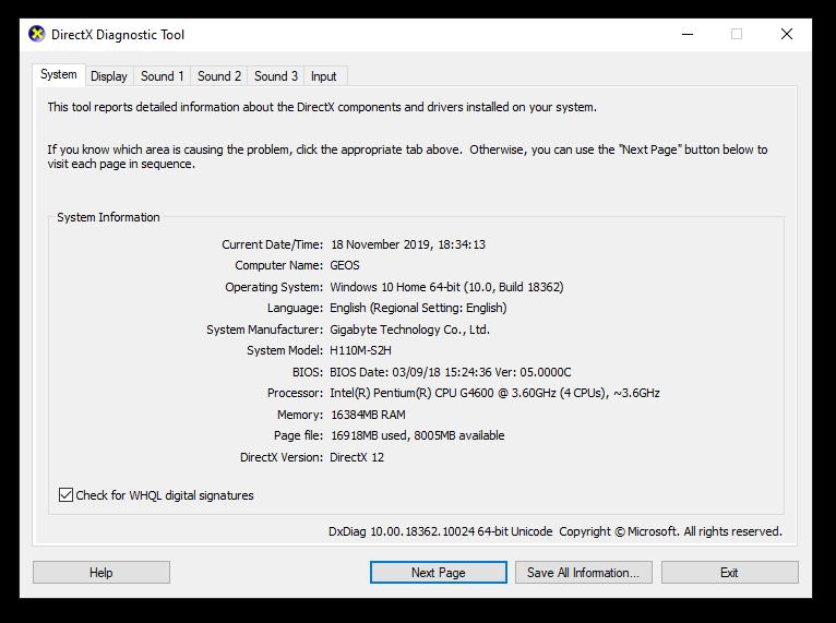 DirectX Diagnostic too;