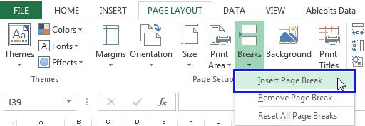 Insert Horizontal Page breaks