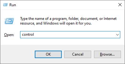 run dialog box > control