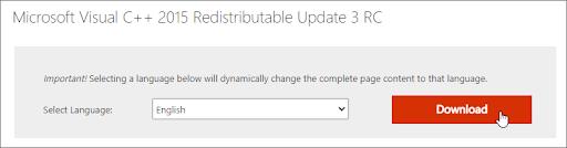 Orange download button for Microsoft Visual C++ Redistributable Update 3 RC on Microsoft's website