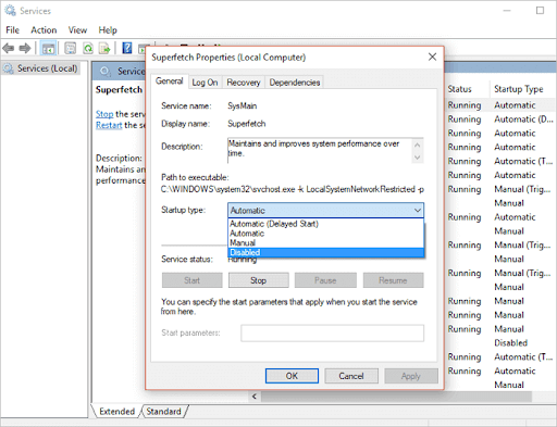 disable superfetch in windows service
