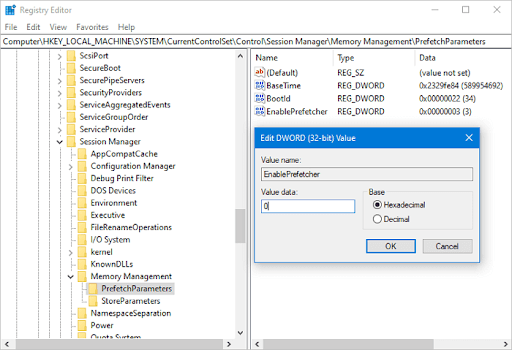 disable superfetch in the registry