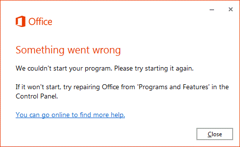 """How to Fix """"Something Went Wrong"""" Error When You Start an Office App"""