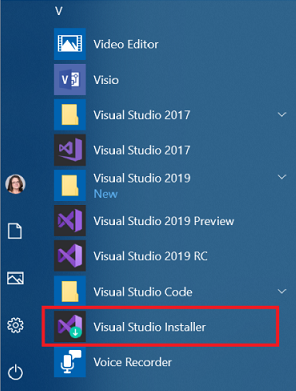 How to Locate the Visual Studio Installer on windows