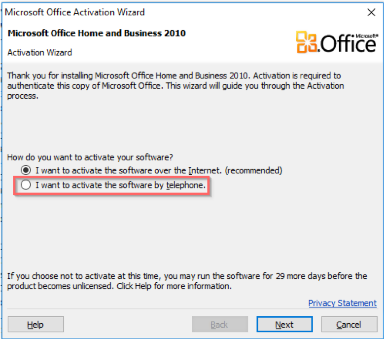 How to activate Microsoft Office 2010 via phone