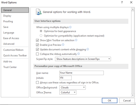 How to change settings in Word