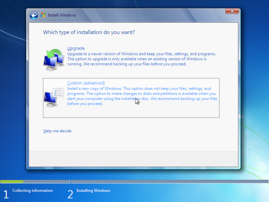 How to choose installation type