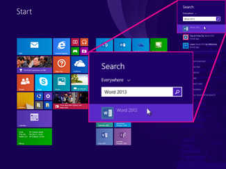 How to find Office Apps on Windows 8. Type the application name in the Search box