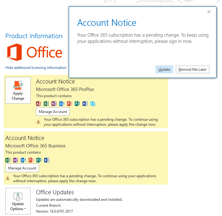 How to install updates in Office 365