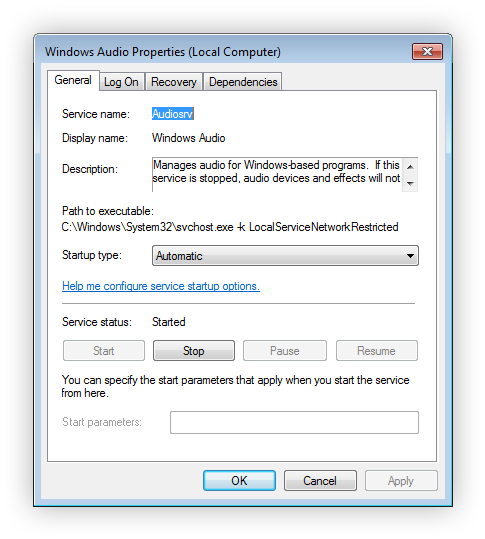 How to reset audio services