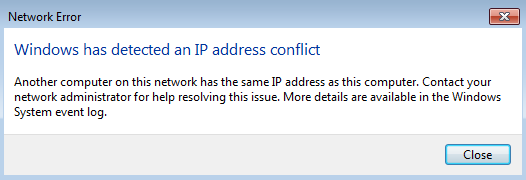 How to resolve Windows has detected an IP address conflict