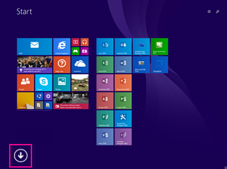 How to search for Office Apps on Windows 8. Click the arrow at the left bottom of the screen