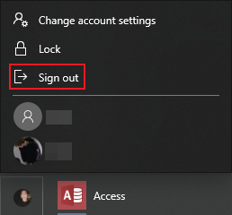 How to sign out of windows account