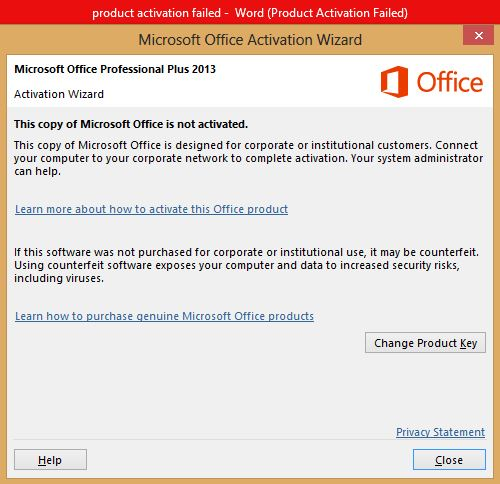 How to solve Microsoft Office 2013 activation failed