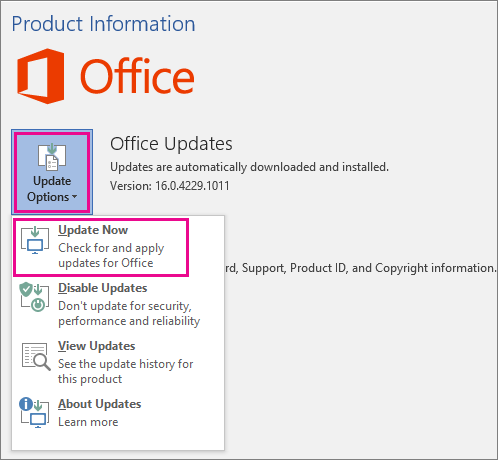 Installing Office 2016 updates