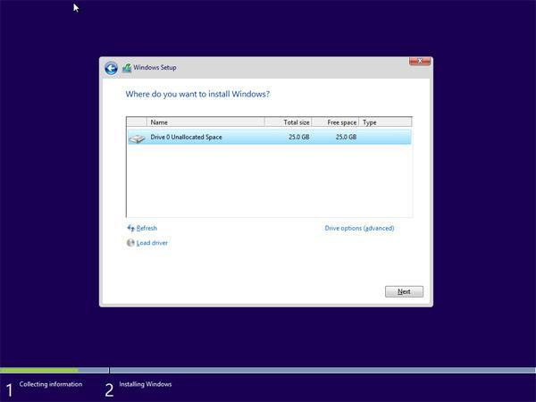 Installing windows 10 operating system