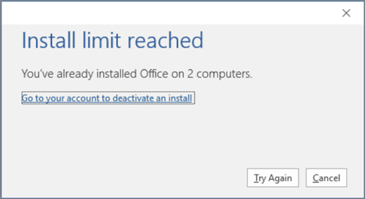 Limit reached error when installing Office