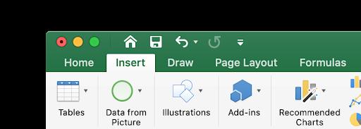 Excel Insert tab