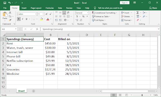 set up budgeting spreadsheet