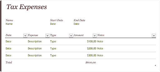 Tax expenses journal template by Microsoft