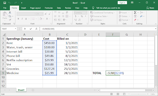 add excel funcitons to the spread sheet