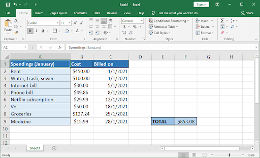 format your spreadsheet for readability