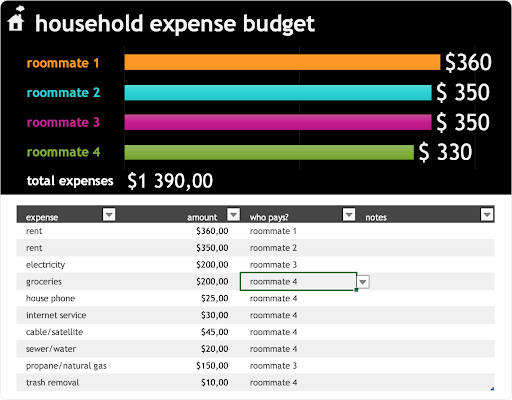 household expense budget template by Microsoft