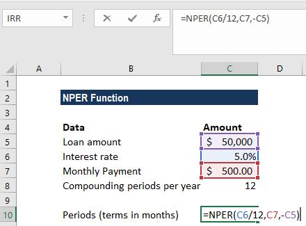 Apply NPER formula