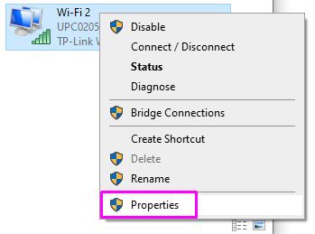 Network adapter properties