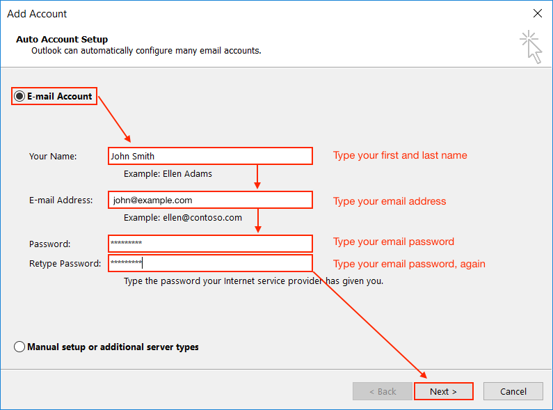 How to set up an email account