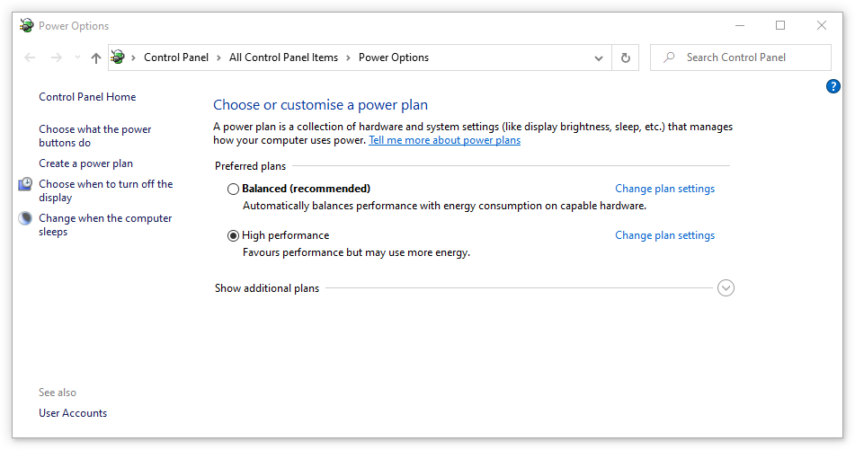 How to optimize power options