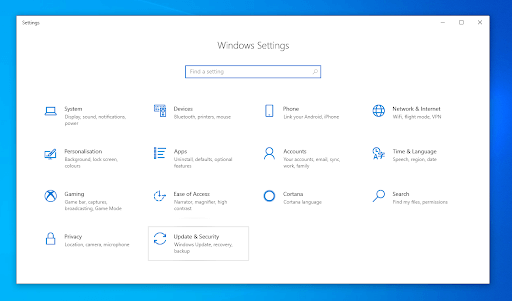 Windows settings Window