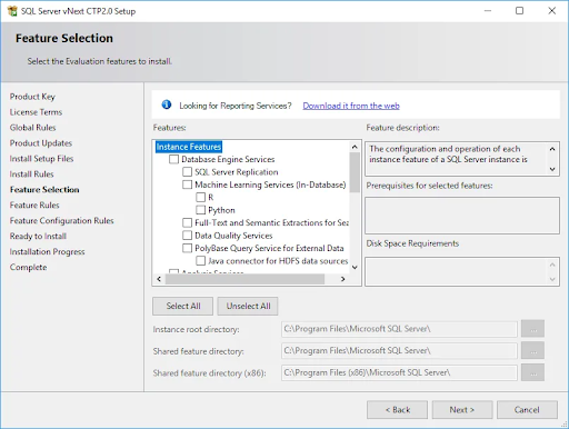 SQL Server Installation Features