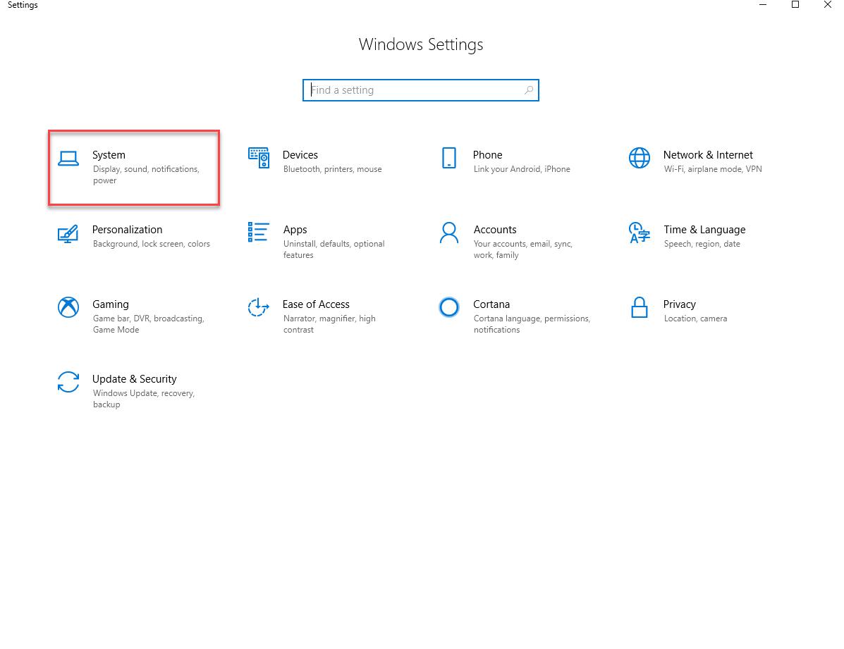System option on windows