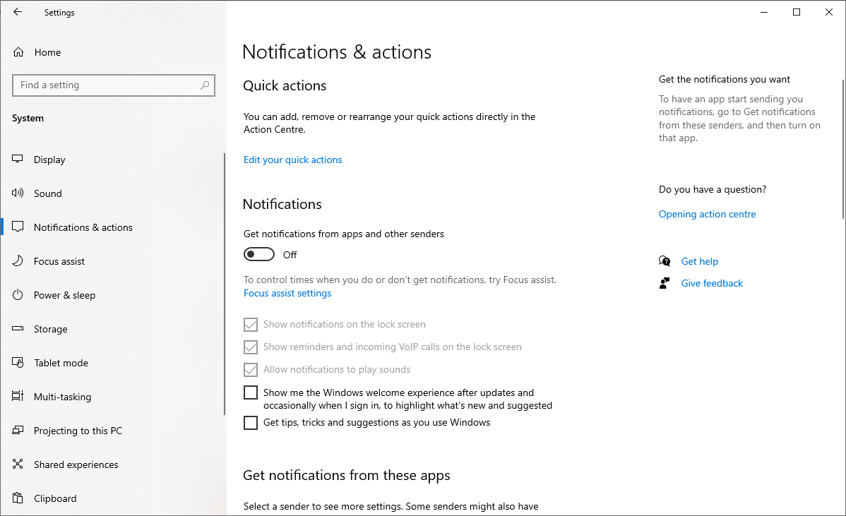 Disable all notifications on Windows 10