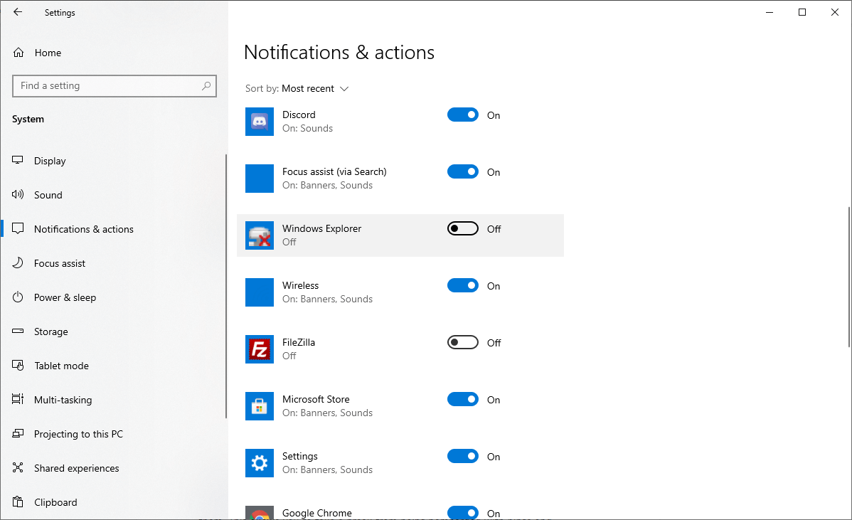 Disable individual app notifications on Windows 10