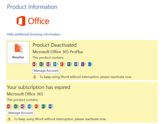 What to do when Microsoft office Subscription expires