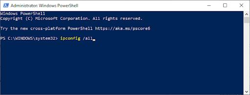 windows powershell: ip/configall